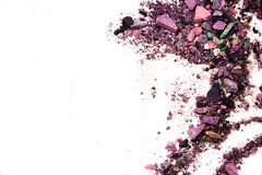 Eyeshadow Cosmetic Powder Scattered Copy Space. various set  on white background. The concept of fashion and beauty indust Royalty Free Stock Photo