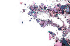 Eyeshadow Cosmetic Powder Scattered Copy Space. various set  on white background. The concept of fashion and beauty indust Royalty Free Stock Photos