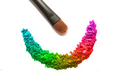 Eyeshadow cracked and brush Royalty Free Stock Photo