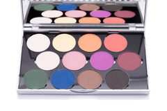 Eyeshadow of different colors over white background Stock Image