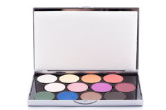 Eyeshadow of different colors over white background Stock Photos
