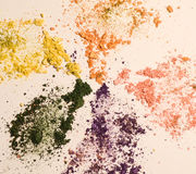 Eyeshadow. In different colors on a white background Cosmetics for Eyes Royalty Free Stock Photography