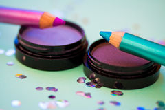 Eyeshadow and eye pencil, cosmetics series Stock Image