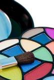 Eyeshadow kit and brush Stock Photo