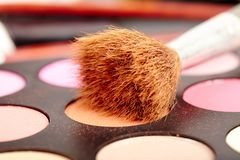 Eyeshadow kit with brush Royalty Free Stock Image