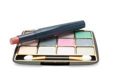Eyeshadow and lipstick Royalty Free Stock Photos