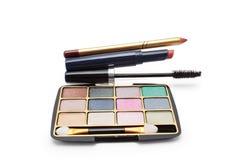 Eyeshadow, lipstick, mascara and lip pencil Stock Photo