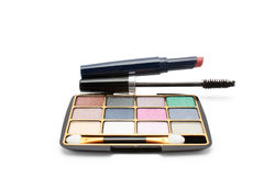 Eyeshadow, lipstick and mascara Stock Photos