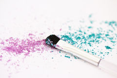 Eyeshadow make-up powder and brush Stock Photo