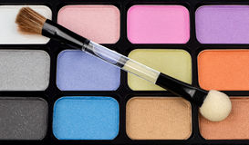 Eyeshadow. Makeup colors pallet set with brush Royalty Free Stock Image