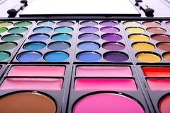 Eyeshadow, a makeup multi colored palette Royalty Free Stock Photography