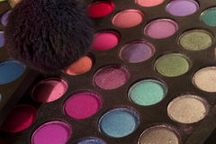 Eyeshadow Makeup palettes and brushes Royalty Free Stock Photography
