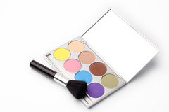 Eyeshadow palette. On white with brush Royalty Free Stock Image