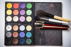 Eyeshadow palette and brush for professional makeup Stock Photos