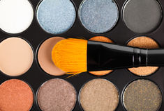 Eyeshadow Palette and brush Royalty Free Stock Photography