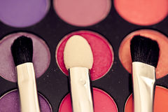 Eyeshadow palette & brushes Royalty Free Stock Photo