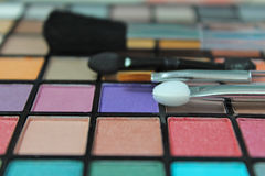 Eyeshadow palette with make up brushes Stock Photography