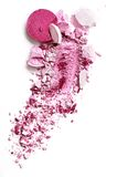 Eyeshadow pink on a white background. Eyeshadow pink crushed and mixed isolated Stock Photos