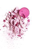 Eyeshadow pink on a white background. Eyeshadow pink crushed and mixed isolated Royalty Free Stock Photo