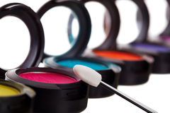Eyeshadow Pots With Brush Royalty Free Stock Photo