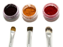 Eyeshadow pots and brushes Stock Photo