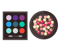 Eyeshadow and rouge isolated vector illustration. Royalty Free Stock Photo