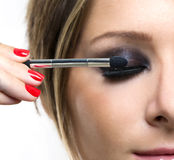 Eyeshadows. Eye shadow brush Stock Image