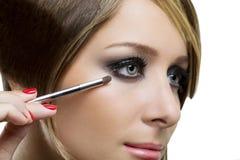 Eyeshadows. Eye shadow brush Stock Photography