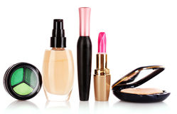 Eyeshadows , foundation, mascara, lipstick and pow stock photography