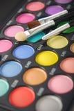 Eyeshadows kit with brushes Stock Photo
