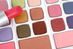 Eyeshadows and lipstick Royalty Free Stock Photography