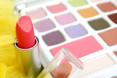 Eyeshadows and lipstick Stock Photo