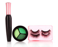 Eyeshadows  and mascara and false eyelashes Stock Photo