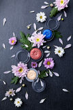 Eyeshadows mixed with fresh flowers Stock Images