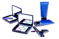 Eyeshadows palettes,mascara stick and tubes Stock Photo