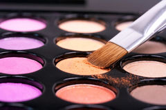 Eyeshadows with professional make-up bru Stock Image