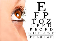 Eyesight. Closeup of a woman's eye next to an eyechart Royalty Free Stock Image