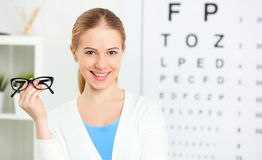 Eyesight check. woman with glasses at doctor ophthalmologist opt Stock Images