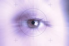 Eyesight concept. Concept of eyesight, closeup of one eye with a target centred Royalty Free Stock Images