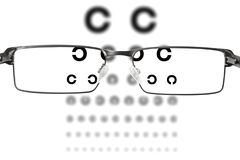 Eyesight test. Looking through glasses to the eyesight test chart Stock Images