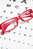 Eyesight test. Chart with glasses Royalty Free Stock Image