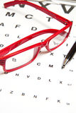 Eyesight test. Chart with glasses Royalty Free Stock Photography