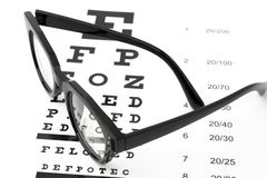 Eyesight test with black glasses and snellen chart.  Royalty Free Stock Photo