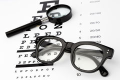 Eyesight test with black small magnifier, glasses and snellen chart. Eyesight test with black small magnifier, black glasses and snellen chart Stock Image