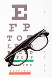 Eyesight test table with glasses over it - close up shot Stock Image