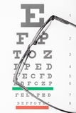 Eyesight test table with glasses over it Stock Photography