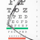 Eyesight test table and glasses Royalty Free Stock Photography
