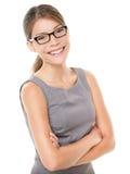eyewear妇女佩带的玻璃 库存图片