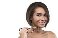 Eyewear玻璃在白色隔绝的妇女画象 库存图片