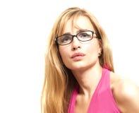 Eyewear glasses female portrait. Blonde beautiful woman wearing Royalty Free Stock Images